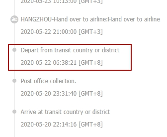Depart from transit country or district